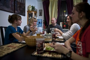 The Vermeire's come together for a family dinner, sharing the day's stories from school, work and track practice. Each of the girls have different daily routines dependent on school activities, chores and after school employment. (U.S. Air Force photo/Tech. Sgt. Bennie J. Davis III)